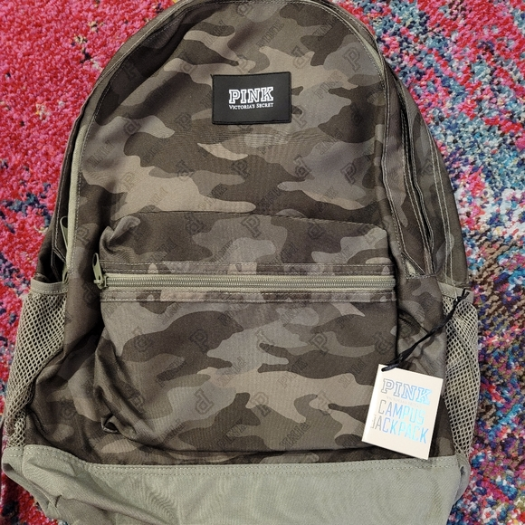 Pink Campus Backpack Green Camo